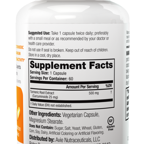 avie-curcumin-supplement-facts